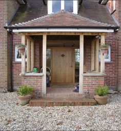 Building open porch but should I go with brick pil. - Building open porch but should I go with brick pil… – Building open porch but should I go with brick pil… – - Oak Front Door, Front Door Porch, Front Porch Design, Front Door Entrance, Porch Uk, House With Porch, House Front, Porch Extension, Brick Porch