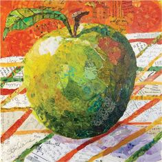 Granny's Apple (collage of hand-painted paper on wood panel) by Elizabeth St. Hilaire. Practice This Simple Shape for Collage Art That Will Impress! #MixedMedia #apples