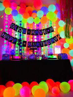 neon glow in the dark birthday party decor ideas idea Neon Birthday, 13th Birthday Parties, Girl Birthday Themes, Birthday Party For Teens, 16th Birthday, Birthday Ideas, Halloween Birthday, Halloween Halloween, Halloween Costumes