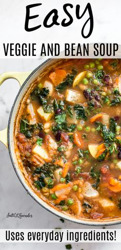 This easy vegetable and bean soup recipe is simple, hearty, and healthy. Use whatever veggies you have on hand to make this delicious cozy soup!