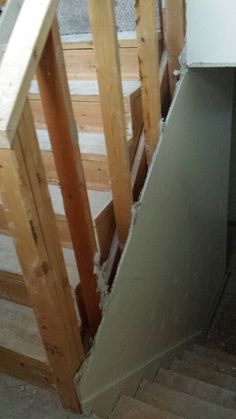 Railing with drywall removed