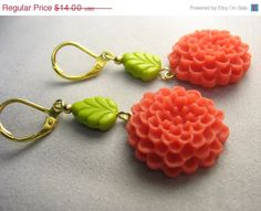 Mum flower earrings  brightly colored resin by lennonsleadinglady, $9.80