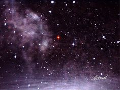 Snow Angel - taken into a snowstorm in Colorado (red light is a porch light) - do you see an angel?