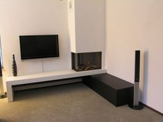 Corner Gas Fireplace, Home Fireplace, Fireplace Remodel, Modern Fireplace, Living Room With Fireplace, Fireplace Design, Living Room Tv, Home And Living, Apartment Projects