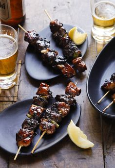 Yakitori chicken skewers - use green part of spring onions (or I left them out and used capsicum instead). I also left out the chicken livers as I'm not a fan.