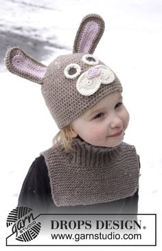 """DROPS Easter: Crochet Easter bunny hat and knitted neck warmer in """"Lima"""". ~ DROPS Design"""
