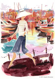 ayako onozuka #illustration #Fashion #Watercolor #Landscape #イラストレーション