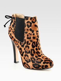 Diane von Furstenberg Leopard-Print Calf Hair Platform Ankle Boots