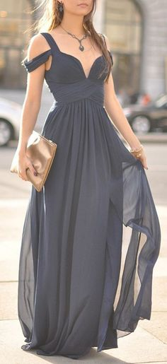 Off Shoulder Grey Bridesmaid Gown