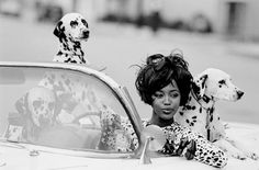 Naomi and her dalmatians by Peter Lindbergh for Vogue Paris in 1990