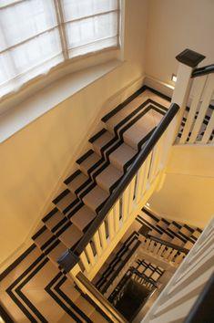 Flatweave Stripes. PNT 16 Carpet | Hartley Tissier Striped Stair Runner