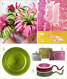 hot pink and lime green christmas via realsimple Nontraditional Christmas Color Palettes