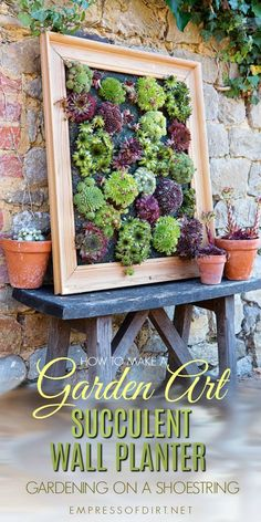 Turn succulents into living wall art with this picture frame projects.This tutorial is an excerpt from the wonderful new book, Gardening on a Shoestring: 100 Fun Upcycled Garden Projects by Alex Mitchell. Succulent Wall Planter, Garden Planters, Wall Planters, Succulent Frame, Living Wall Planter, Succulent Wreath, Diy Garden Projects, Garden Crafts, Creative Garden Ideas