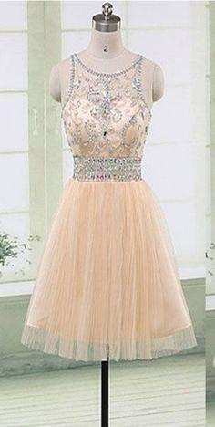Beige Gorgeous beaded elegant fashion cute homecoming prom #Short Homecoming Dress#HomecomingDresses#Short PromDresses#Short CocktailDresses#HomecomingDresses