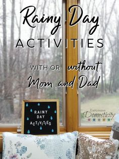 Finding things to do on rainy days can drive parents crazy! Here are some ideas for rainy day activities - with or without Mom and Dad! Rainy Day Activities For Kids, Family Activities, Indoor Activities, Summer Activities, Parenting Advice, Kids And Parenting, Raising Kids, So Little Time, Have Time