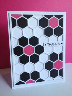 handmade thank you card: Ice Cream Parlor Tiles by lisaadd  ... die cut hexagon grid filled with quilt flowers .... black with pink centers ... no fill  for the spaces between adds depth ... luv it!