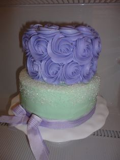Baby Shower - lavender and green. This cake would be pretty with a white sparkly base cake instead of green.
