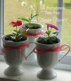Re Purposed Tea Cup Flower Favors | Cozy Country Living