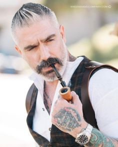 Add some flare to you menswear! Products seen: tuxedo bib henley, waistcoat, and Saddle Back Holster suspender. Moustaches, Hair And Beard Styles, Short Hair Styles, Anthony Varrecchia, Daniel Sheehan, Guys Grooming, Beard Tattoo, Tattoo Ink, Tattoos