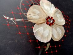 KATE Ivory and Red Peacock Feather Flower by OhPeacockFeathers, $23.50