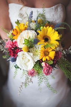 Wildflower Bouquet With Daisies and Roses