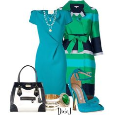 """Blue and Green"" by dimij on Polyvore"
