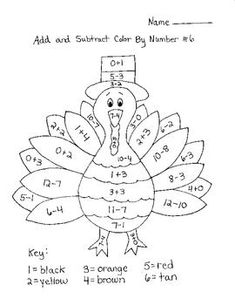 Turkey Add & Subtract Color By Number