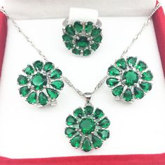 925 Silver Green Jewelry Sets Huge Flower Style Earrings/Pendant/Necklace/Rings Size 6/7/8/9 For Women Free shipping