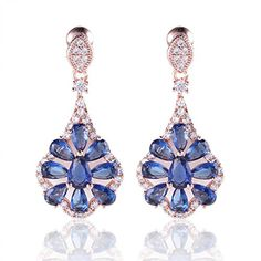 BMALL Ladies Popular SWA Earrings 18K Rose Gold Plated Blue Topaz Incredible Earings Dangle E052e *** Learn more by visiting the image link. Note:It is Affiliate Link to Amazon.