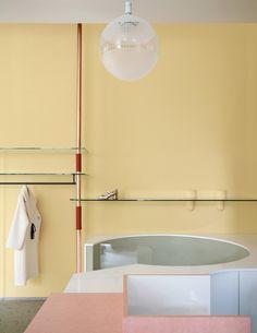 Milan Boutique, Boutique Ideas, Milan Travel, Pastel Interior, Wooden Screen, Copper Tubing, Custom Made Furniture, Hanging Rail, Milan Design