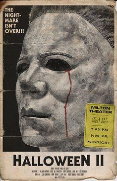 Michael Myers Halloween II Movie Poster by Trevor Dunt Halloween Film, Halloween Horror, Vintage Halloween, Halloween Artwork, Halloween Poster, Horror Movie Posters, Horror Movies, Film Posters, Michael Meyer