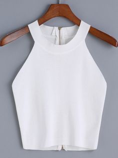 To find out about the Halter Zipper Knit Cami Top at SHEIN, part of our latest Tank Tops & Camis ready to shop online today! White Camisole Top, White Vest Top, White Cami Tops, Mode Monochrome, Fashion Clothes, Fashion Outfits, Women's Fashion, Fashion Styles, Stylish Clothes
