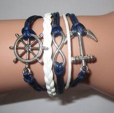 BraceletNautical braceletrudder braceletanchor by Youchic on Etsy, $4.26