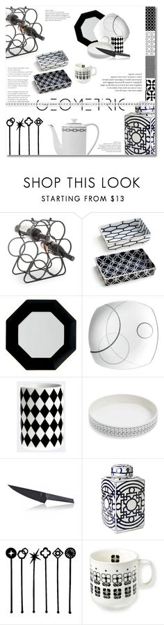 """""""geometric kitchen"""" by limass ❤ liked on Polyvore featuring interior, interiors, interior design, home, home decor, interior decorating, Lone Elm Studios, Rosanna, Wedgwood and Mikasa"""