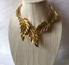 Designer Inspired Feather Necklace Gold in Color Choker, Spring Connector in back