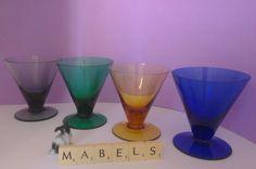 4 Vintage Harlequin Coloured Glass Sundae Dishes | Mabel's Tableware