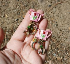 Cha Cha Lunch At The Ritz Garden Charm Post Earrings plus Free USA Shipping!