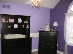 Baby Girls Purple Nursery Idea | Purple Baby Girl's Room, Hand painted Purple Flowers and green accents ...
