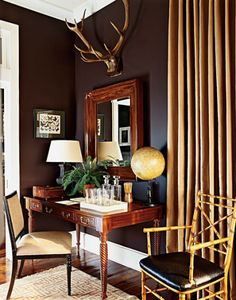 Back room: dark brown walls with light weight traditional furniture and ochre drapery...no heaviness here, still feels fresh  [CasaGiardino]