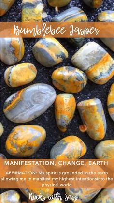 Bumble Bee Jasper can encourage change and development in your life and is said to help manifest the impossible. Crystals Minerals, Rocks And Minerals, Crystals And Gemstones, Stones And Crystals, Gem Stones, Crystal Healing Stones, Crystal Magic, Rocks And Gems, At Least