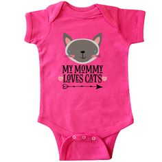 Cute kitty with my Mom loves cats quote on a Infant Creeper outfit. $18.99 www.homewiseshopperkids.com