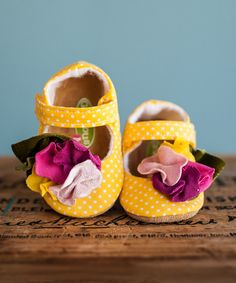 Look at this Gracious May Yellow & Pink Polka Dot Sprinkles Mary Janes on #zulily today!