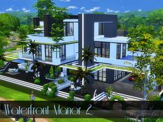 johnDu's Waterfront Manor 2. Luxury Modern Homes, Modern Mansion, Sims 4 House Design, Dream Home Design, Modern House Names, Lotes The Sims 4, Sims Cc, Sims 4 House Plans, Casas The Sims 4