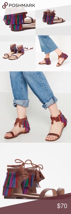 Zara fringe leather sandals 7.5 Brand new with tag zara colorful fringe sandal size 7.5 Zara Shoes Sandals