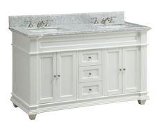 "60"" Italian Carrara Marble Double Sink Kendall Bathroom Sink Vanity HF-1085"
