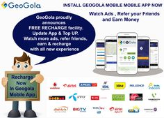 #Geogola #Announces #Free #Recharge Facility . Update #Geogola #MobileApp Now & Top Up . #Watch Ads , #Refer ur Friends , #Earn & #Recharge ..... For Updated click this Link :http://lnk.al/1jcN