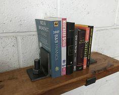 Industrial Metal Bookends - retro steampunk art