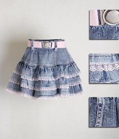 Trendy Sewing Projects For Children Girl Skirts Toddler Dress, Baby Dress, Little Girl Dresses, Girls Dresses, Girl Skirts, Denim Ideas, Denim Crafts, Recycled Denim, Diy Fashion