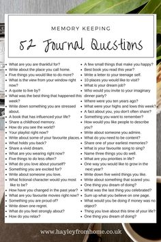 52 Journal Questions For The Bullet Journal - Hayley from Home Project Life La. - - 52 Journal Questions For The Bullet Journal – Hayley from Home Project Life Lauren B Montana Journal Writing Prompts, Journal Pages, Writing Tips, How To Journal, Bullet Journal Prompts, Memory Journal, Life Journal, Keeping A Journal, Creative Journal