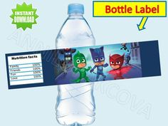 PJ MASK, PRINTABLE, WATER, BOTTLE LABELS, party, favor, DYE, decor, You Print